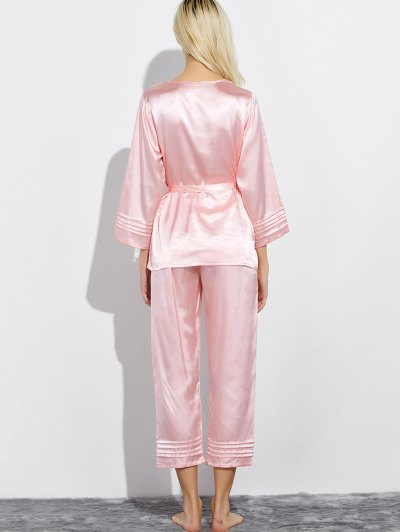 Lace Panel Bowknot Nightwear Pajamas - LIGHT PINK L Mobile