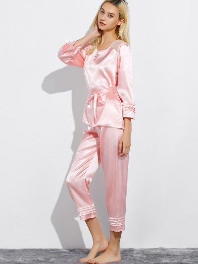 Lace Panel Bowknot Nightwear Pajamas - LIGHT PINK M Mobile