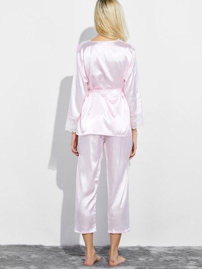 Belted Lace Insert Nightwear Pajamas - LIGHT PINK XL Mobile