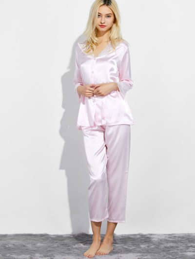 Belted Lace Insert Nightwear Pajamas - LIGHT PINK L Mobile