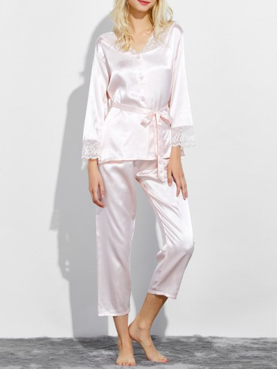 Belted Lace Insert Nightwear Pajamas - SHALLOW PINK XL Mobile