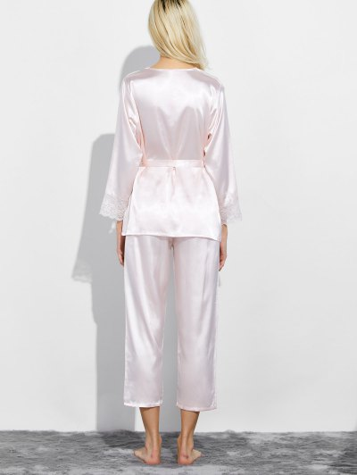 Belted Lace Insert Nightwear Pajamas - SHALLOW PINK L Mobile