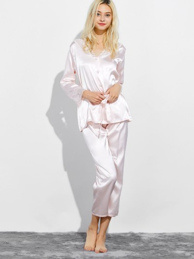 Belted Lace Insert Nightwear Pajamas - SHALLOW PINK M Mobile