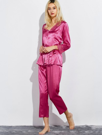 Belted Lace Insert Nightwear Pajamas - ROSE RED L Mobile