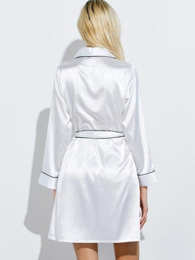 Bowknot Wrap Sleep Robe - WHITE XL Mobile