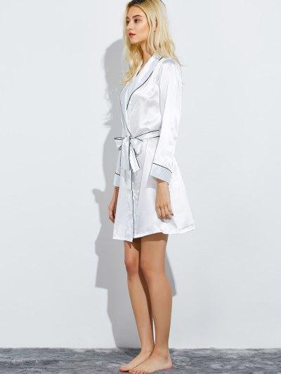 Bowknot Wrap Sleep Robe - WHITE L Mobile