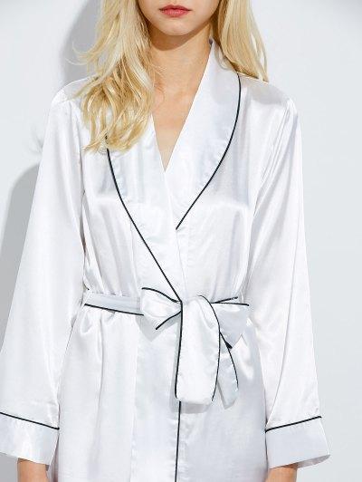 Bowknot Wrap Sleep Robe - WHITE M Mobile