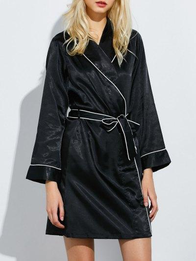 Bowknot Wrap Sleep Robe - BLACK L Mobile