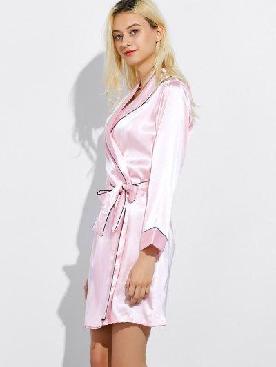 Bowknot Wrap Sleep Robe - LIGHT PINK XL Mobile