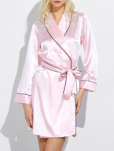 Bowknot Wrap Sleep Robe - LIGHT PINK L Mobile