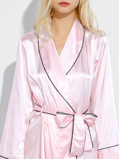 Bowknot Wrap Sleep Robe - LIGHT PINK L Mobile
