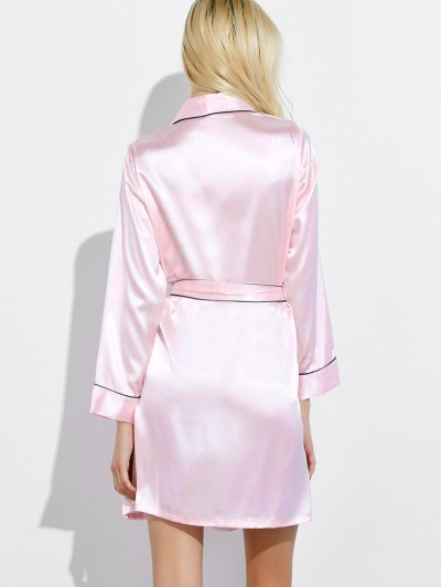Bowknot Wrap Sleep Robe - LIGHT PINK M Mobile