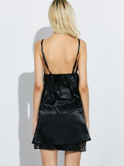 Cami Lace Panel Tank Top and Shorts Pajamas - BLACK L Mobile