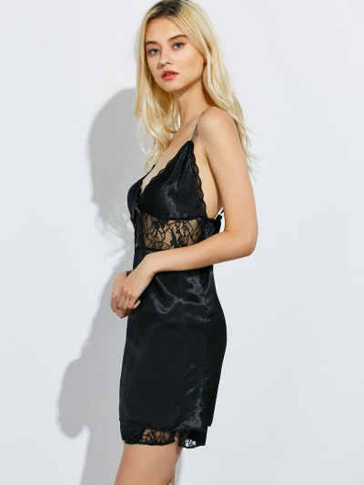 Cami Lace Panel Tank Top and Shorts Pajamas - BLACK M Mobile