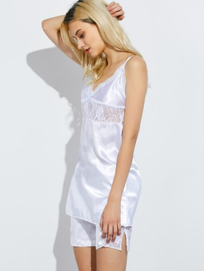Cami Lace Panel Tank Top and Shorts Pajamas - WHITE 3XL Mobile
