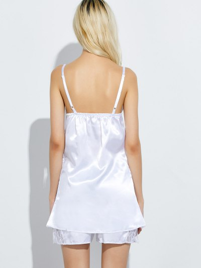 Cami Lace Panel Tank Top and Shorts Pajamas - WHITE 2XL Mobile