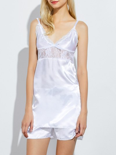 Cami Lace Panel Tank Top and Shorts Pajamas - WHITE L Mobile