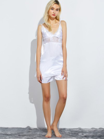 Cami Lace Panel Tank Top and Shorts Pajamas - WHITE M Mobile
