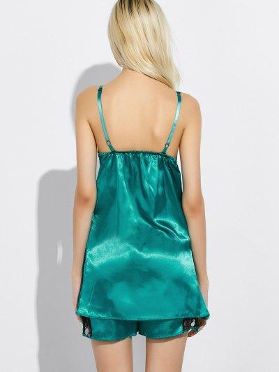 Cami Lace Panel Tank Top and Shorts Pajamas - GREEN 3XL Mobile