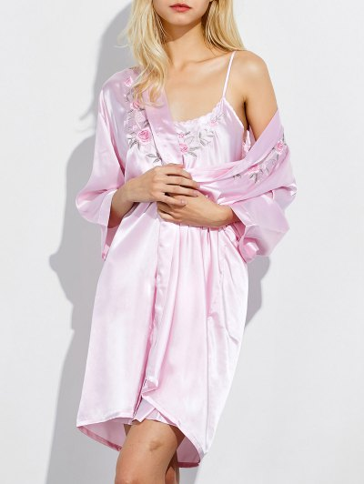 Embroidered Babydoll and Fitting Wrap Robe - LIGHT PINK L Mobile