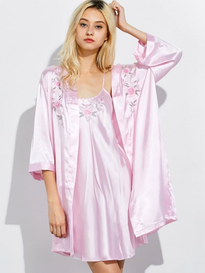 Embroidered Babydoll and Fitting Wrap Robe - LIGHT PINK M Mobile
