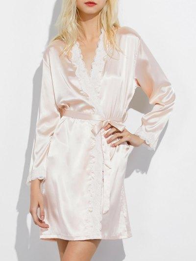 Lace Panel Sleep Wrap Robe - CHAMPAGNE L Mobile