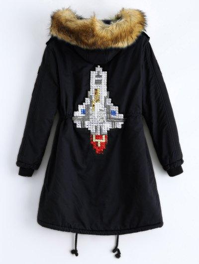 Patch Hooded Parka Coat - BLACK 2XL Mobile