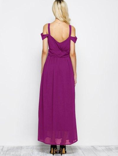 Cold Shoulder Slit Prom Dress - PURPLE S Mobile