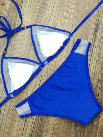 Color Block Voile Panel Halter Bikini Set - BLUE XL Mobile