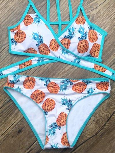 Crossover Pineapple Print Bikini Set - WHITE L Mobile