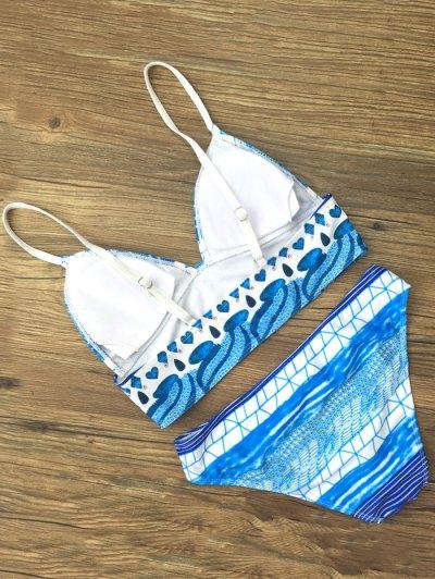 Spaghetti Strap Printed Bikini Set - BLUE L Mobile