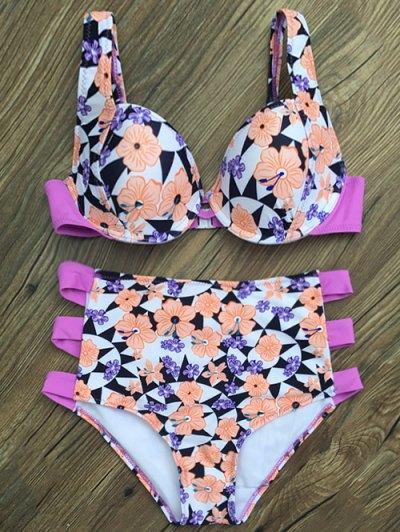 High Waisted Flower Print Bikini Set - WHITE L Mobile