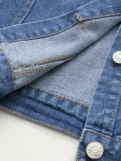 Boyfriend Denim Jacket With Pockets - DENIM BLUE L Mobile