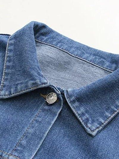 Boyfriend Denim Jacket With Pockets - DENIM BLUE M Mobile