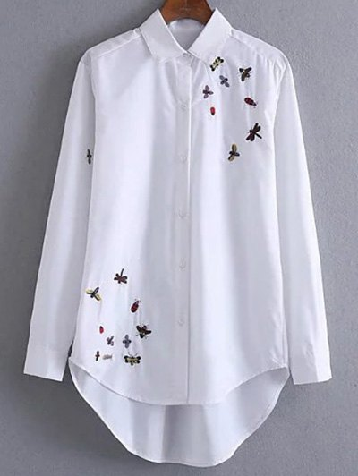 Long Embroidered High-Low Shirt - WHITE M Mobile