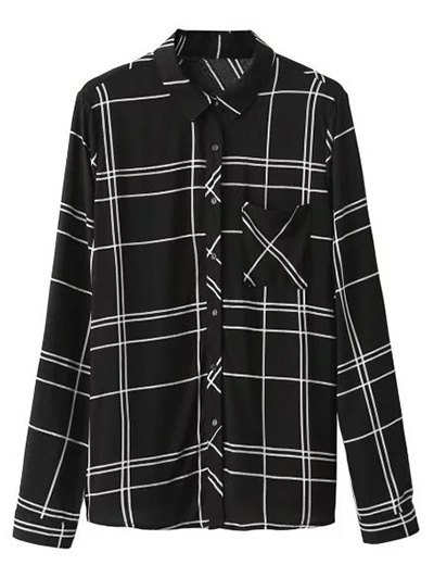 Fitting Plaid Shirt With Pocket - BLACK M Mobile