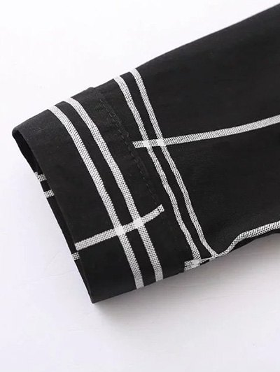 Fitting Plaid Shirt With Pocket - BLACK S Mobile