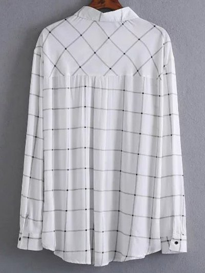 One Breast Pocket Plaid Shirt - WHITE M Mobile