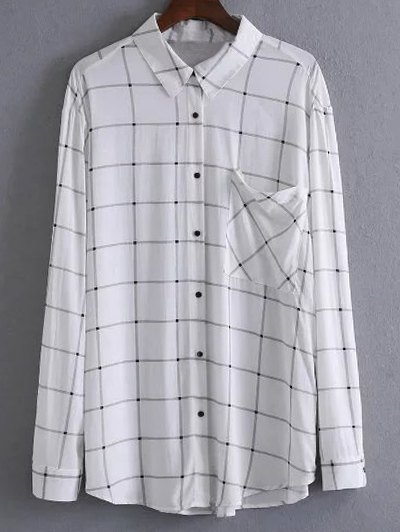 One Breast Pocket Plaid Shirt - WHITE S Mobile