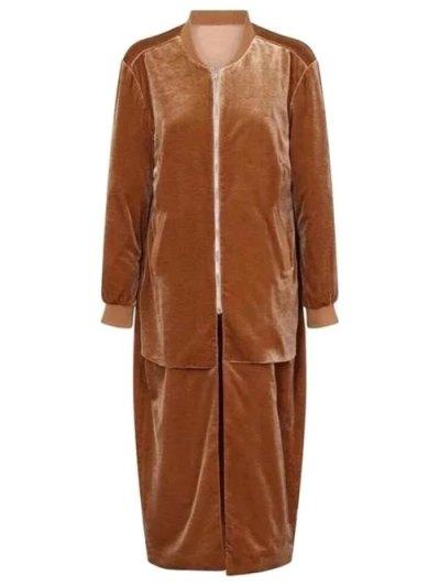 Pleuche Longline Coat - CAMEL ONE SIZE Mobile