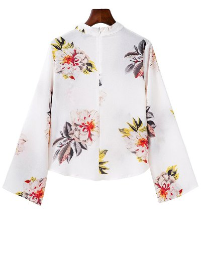 Bell Sleeve Floral Choker Top - WHITE M Mobile