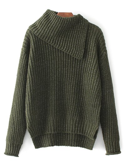 High-Low Chunky Sweater - GREEN ONE SIZE Mobile