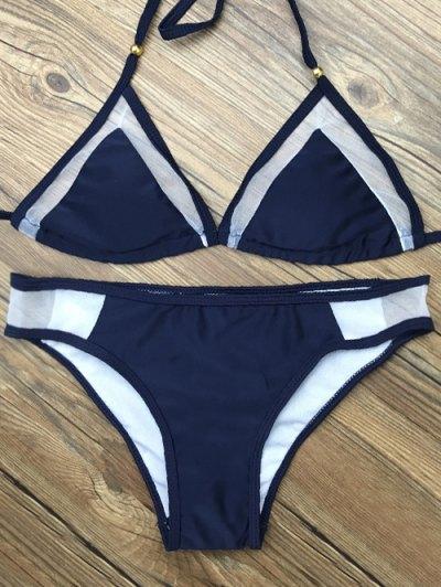 Color Block Halter Voile Insert Bikini Set - PURPLISH BLUE S Mobile
