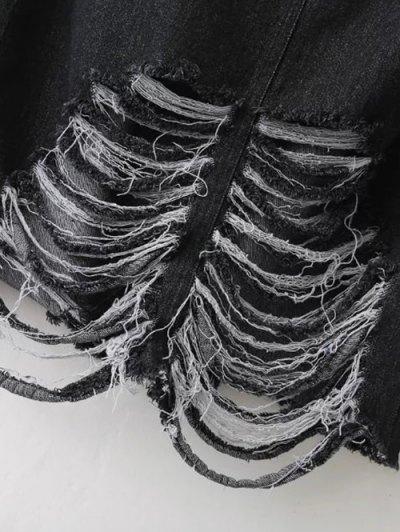 Ribbed Jean Skirt - BLACK L Mobile