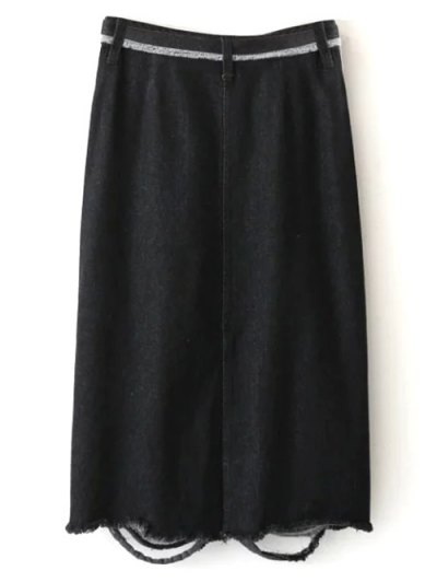 Ribbed Jean Skirt - BLACK M Mobile