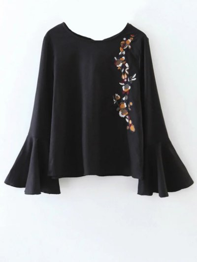 Cut Out Flare Sleeve Floral Tied Blouse - BLACK L Mobile