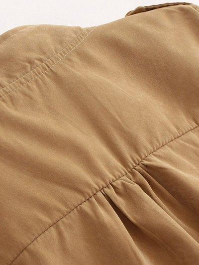 Epaulet  Drawstring Anorak Coat - PALE PINKISH GREY M Mobile