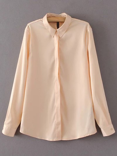 Satin Boyfriend Shirt - YELLOWISH PINK S Mobile