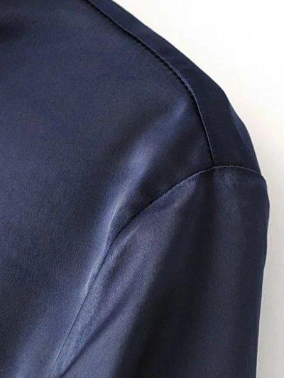 Satin Boyfriend Shirt - CADETBLUE S Mobile