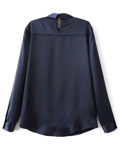 Satin Boyfriend Shirt - CADETBLUE L Mobile